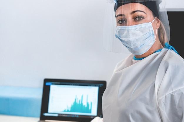 Portret van jonge vrouwelijke verpleegster na het werk in het ziekenhuis tijdens de coronavirusperiode - medisch werkneemster op uitbraak covid-19 met gezichtsmasker - focus op ogen