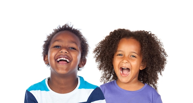 Portret van kinderen geïsoleerd op een witte achtergrond