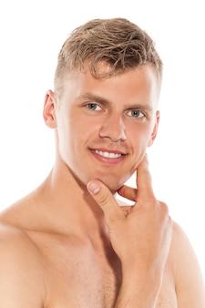 Portret van knappe naakte man