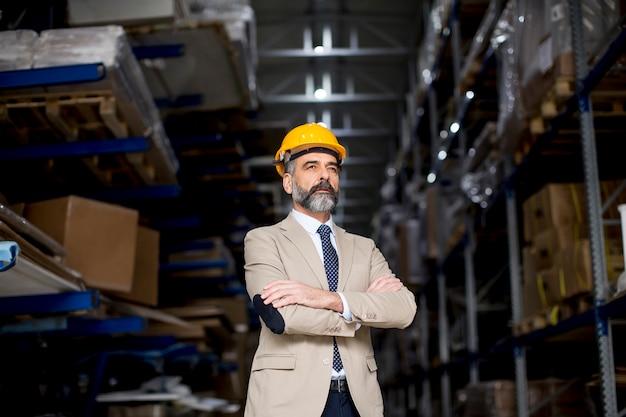 Portret van knappe zakenman in pak met helm in een magazijn