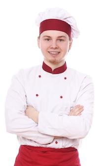 Portret van lachende chef-kok