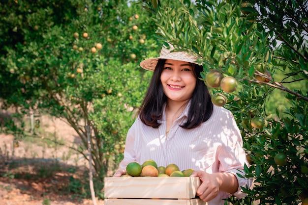 Portret van landbouwkundige boer vrouw is oogst oranje terwijl houten mand.