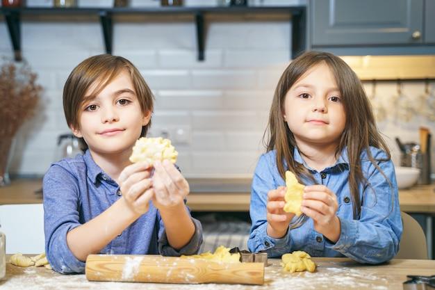 Portret van leuke glimlachende jonge geitjesjongen en meisje die koekjes van deeg in de keuken maken