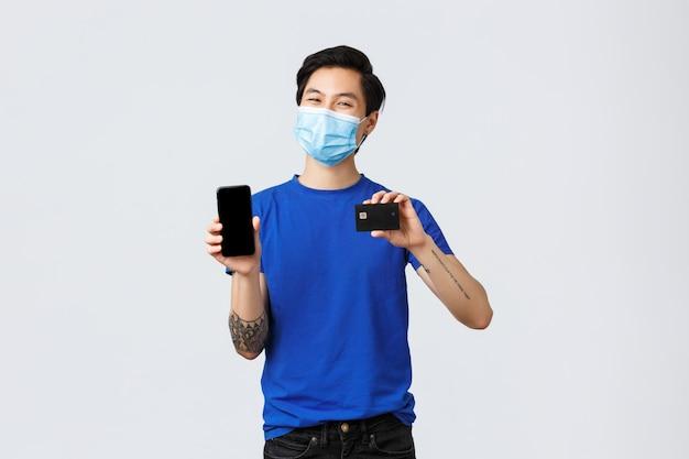 Portret van levering man met gezichtsmasker