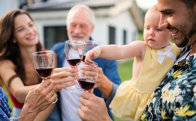 Portret van mensen met wijn buiten op familie tuin barbecue, wijn drinken.