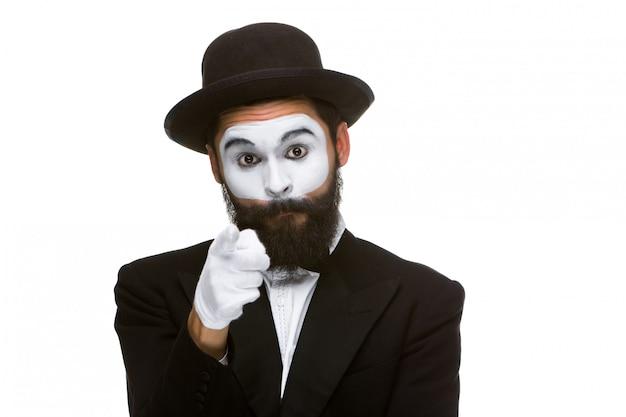 Portret van mime met wijzende vinger