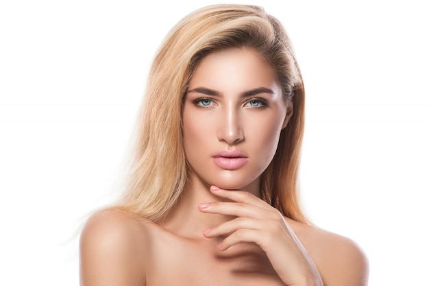 Portret van mooie blonde meisje