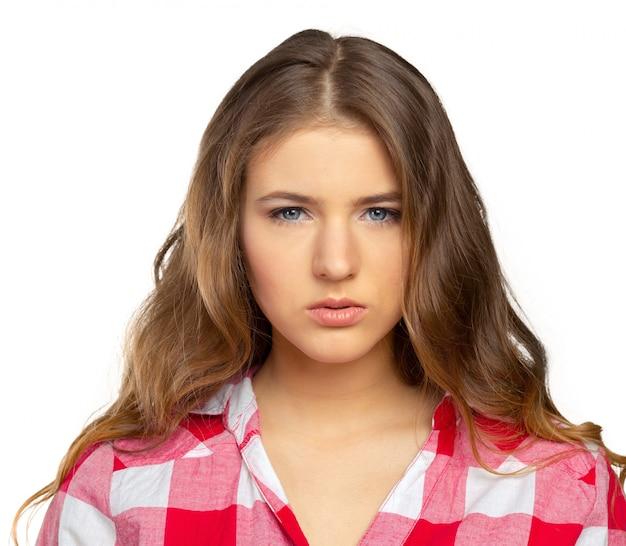 Portret van mooie trieste vrouw