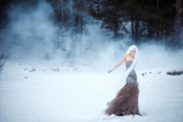 Portret van mooie vrouw met witte pruik in modieuze lange jurk met kapsel