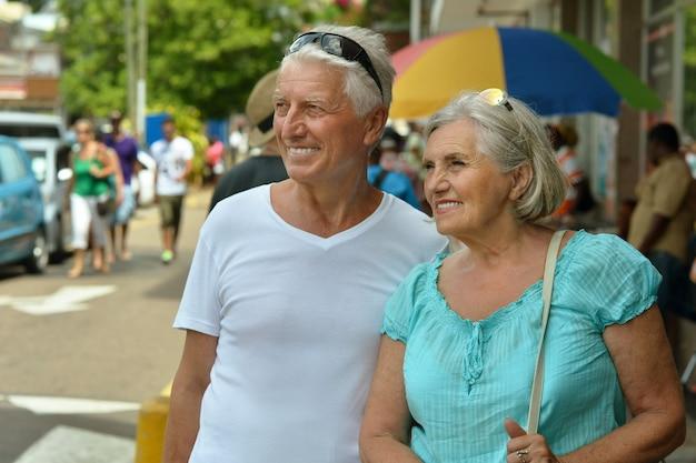 Portret van nice ouder paar in de stad