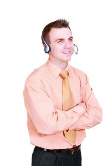 Portret van operator callcenter op witte achtergrond. geïsoleerd over wit