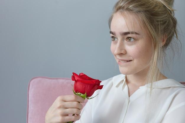 Portret van romantische prachtige jonge vrouw met verzamelde blonde haren met speelse dromerige uitdrukking, lippen bijten, binnenshuis poseren met mooie rode roos van mysterieuze bewonderaar. valentijnsdag