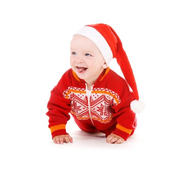 Portret van santa helper baby over witte muur