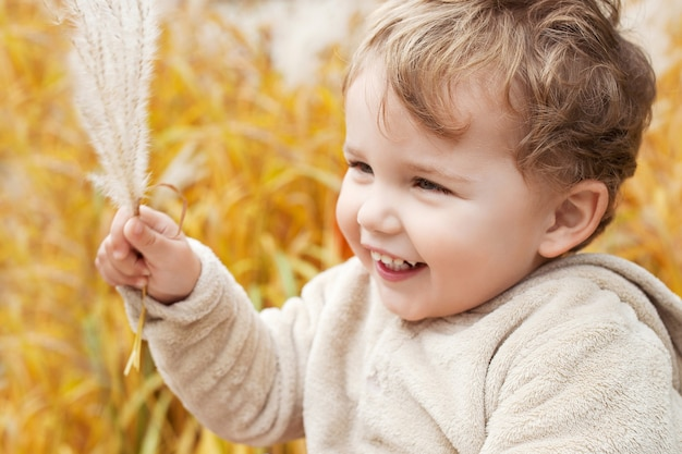 Portret van schattige kleine jongen. gelukkig lief lachend kind in het park. kijk opzij