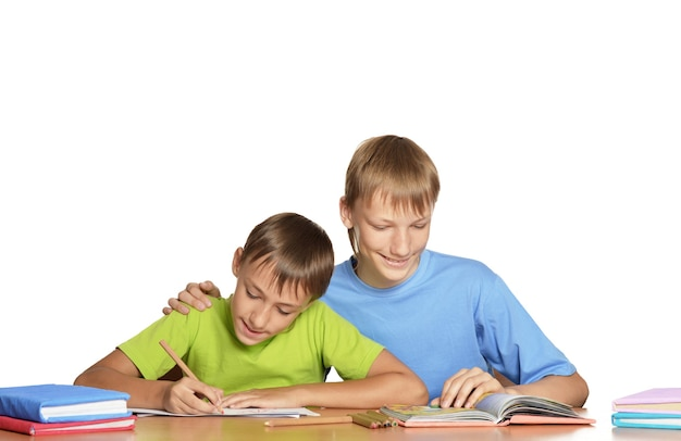Portret van schattige kleine jongens die boeken lezen