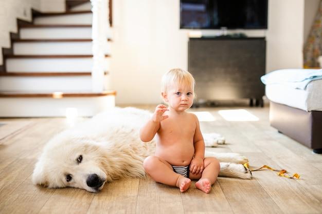 Portret van schattige schattige kleine blonde babyjongen zit met hond thuis. glimlachend kind dat dierlijk huisdier houdt. gelukkig jeugdconcept