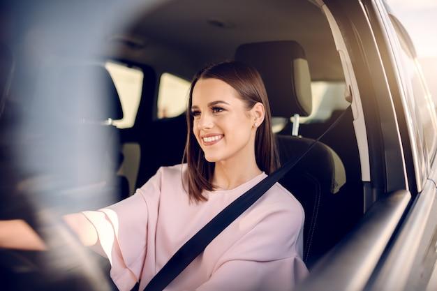 Portret van schoonheid met toothy glimlach drijfauto. handen op het stuur.