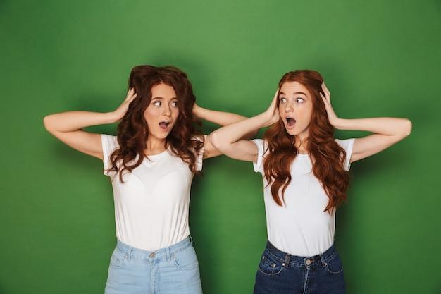 Portret van twee bange of gespannen vrouwen met rood haar in witte t-shirts die elkaar aankijken en oren bedekken, geïsoleerd op groene achtergrond