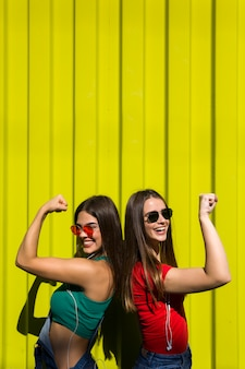 Portret van twee jonge gelukkige vrouwenvrienden die zich openlucht over gele muur bevinden