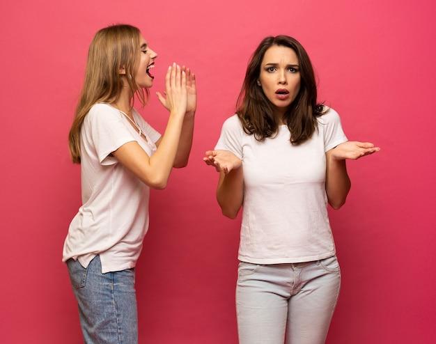 Portret van twee leuke meisjes die een geheim fluisteren dat over roze achtergrond wordt geïsoleerd.