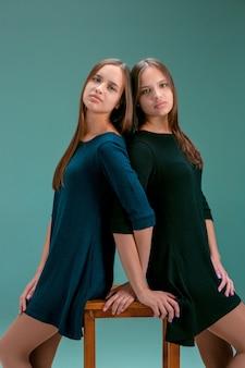 Portret van twee mooie tweeling jonge vrouwen