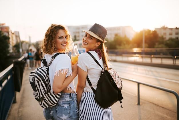 Portret van twee schitterende meisjes die op een festival van de de zomermuziek gaan.