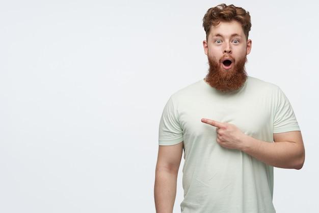 Portret van verbaasde jonge, bebaarde man, draagt een blanco t-shirt, houdt sissende mond en ogen wijd open