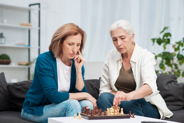 Portret van vrienden die schaken