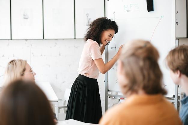 Portret van vrolijk afrikaans amerikaans meisje met donker krullend haar dat zich dichtbij raad bevindt en presentatie geeft aan collega's in bureau