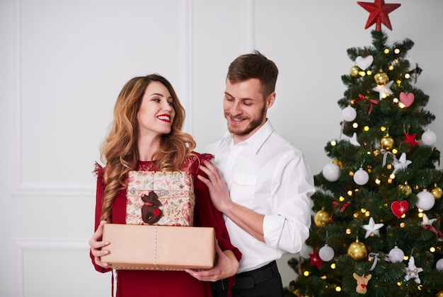 Portret van vrolijk paar met aanwezige kerstmis