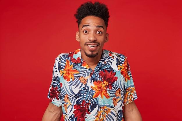 Portret van vrolijke jonge afro-amerikaanse man, draagt in hawaiiaans shirt, kijkt naar de camera met gelukkige uitdrukking, staat op rode achtergrond en glimlacht breed.