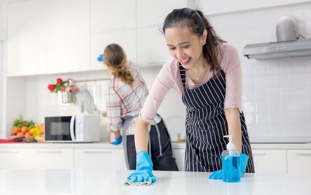 Portret van vrolijke jonge huisvrouw met schoonmaakspullen holding Premium Foto