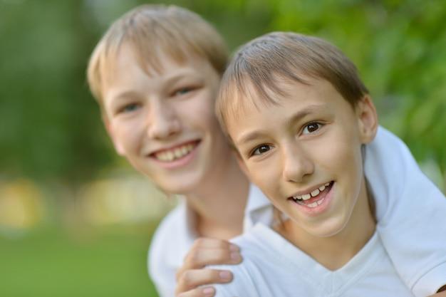 Portret van vrolijke jongens twee zomerpark