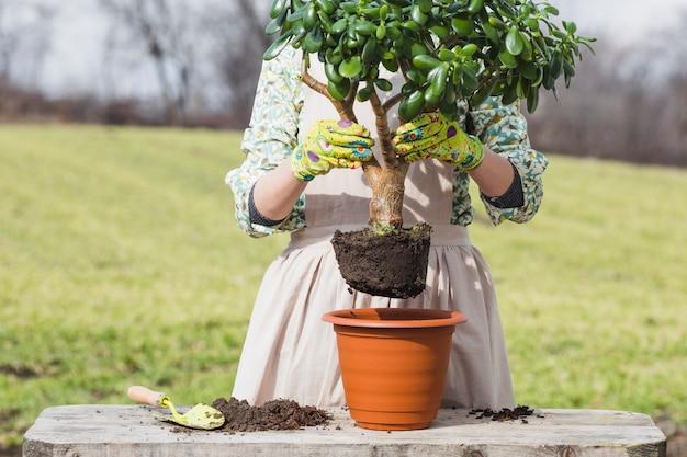 Portret van vrouw tuinieren