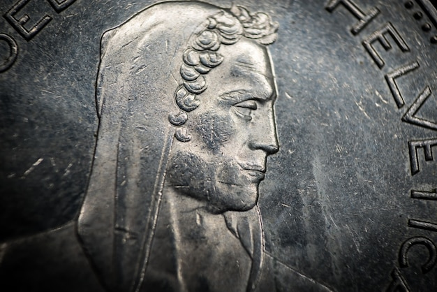 Portret van william tell van 5 franc coin, zwitserland. macro foto