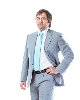 Portret van zekere zakenman in pak op witte achtergrond