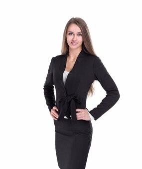 Portret van zelfverzekerde zakenvrouw. geïsoleerd op witte achtergrond
