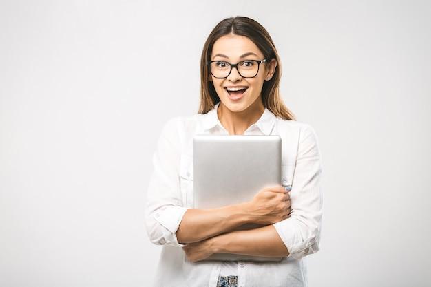 Portret vrouw met tablet