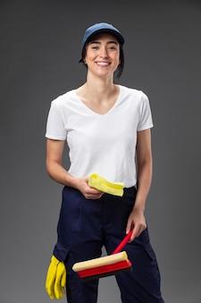 Portret vrouwelijke glazenwasser