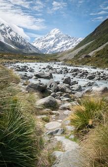 Portretfoto van de gletsjerrivier die leidt naar de berg op de achtergrond van nieuw-zeeland