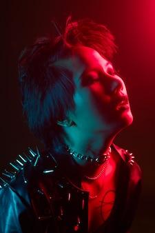 Portretmode verlichting met flitsgels, speciale effecten, studiofoto