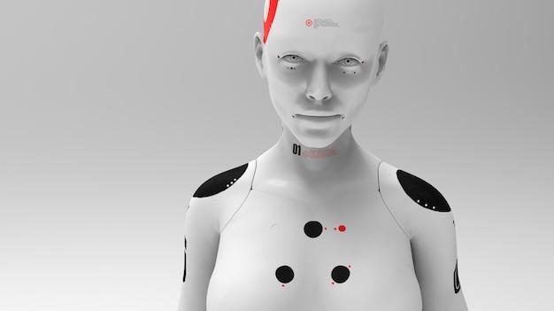 Portretten van een vrouwelijke robot. concept van robotica en kunstmatige intelligentie