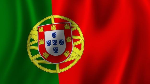Portugal vlag zwaaien close-up 3d-rendering met afbeelding van hoge kwaliteit met stof textuur