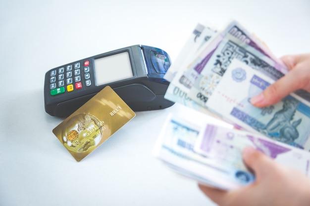 Pos credit card settlement in plaats van cash settlement shopping