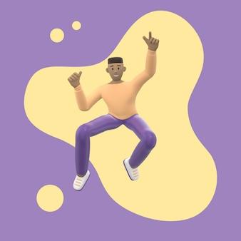 Positief karakter in gekleurde kleding. een jonge vrolijke afrikaanse man rent, danst, springt