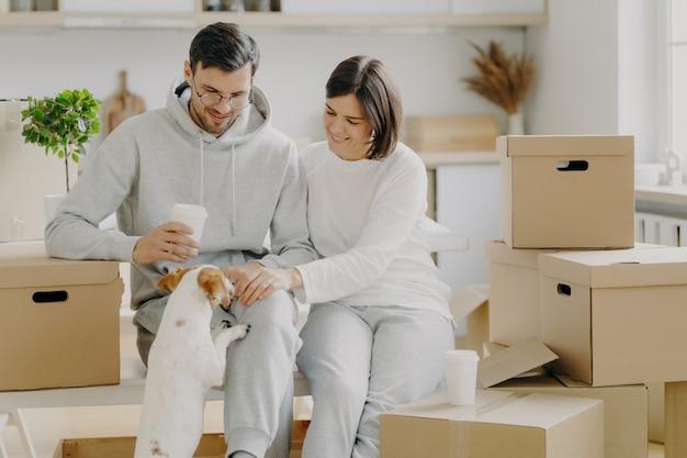 Positieve jonge man en vrouw spelen met hond, zitten op kartonnen dozen, drinken afhaalmaaltijden koffie, hebben pauze tijdens verhuisdag en dingen uitpakken, dragen een casual outfit, genieten van het leven in een nieuwe flat.