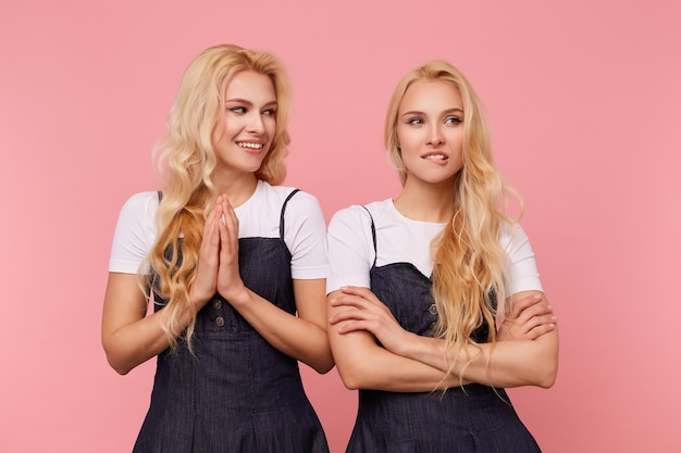 Positieve jonge mooie blanke dame met lang golvend haar die opgeheven handpalmen bij elkaar houdt terwijl ze vrolijk kijkt naar haar verbaasde mooie zus, geïsoleerd op roze achtergrond