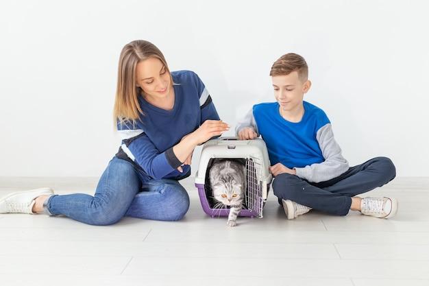 Positieve knappe moeder en zoon lanceren hun mooie grijze scottish fold-kat na de verhuizing in hun nieuwe appartement