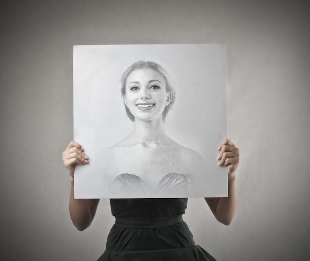 Positieve poster van een vrouw