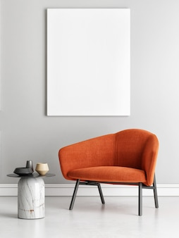 Poster een fauteuil in minimalistisch interieur